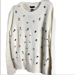 Halogen Sweater Jeweled Women's M Ivory 80's Style